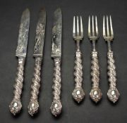Three pairs of Victorian silver fish knives and forks, Francis Higgins, London 1864,