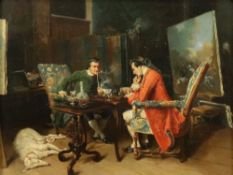 After Jean-Louis Ernest Meissonier, A Game of Chess, oil on canvas, 26.5 x 33.5cm.