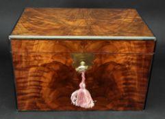 A Victorian rectangular burr walnut veneered box,