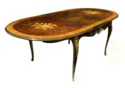 A reproduction Italian rosewood mahogany burr walnut and floral marquetry extending dining table,