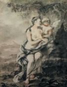 European School, 18th Century, A woman with a cherub in a landscape, pastel and chalk, 55 x 43cm.