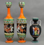 A pair of English earthenware vases, mid 19th century, possibly Samuel Alcock,