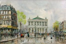 J Giordano (Italian, 20th Century), A Parisian Street Scene, signed 'J Giordano' (lower left),