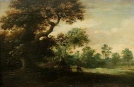 English School, 19th Century, Figures in a landscape, oil on panel, 21 x 32cm.