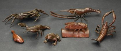 A group of four small Japanese bronze models of crustacea, 20th century, comprising: crab,