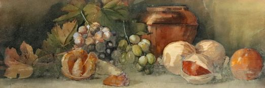 Arthur Dudley (British, 1890-1907), Still life of fruit and a vase,