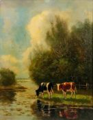 Follower of Ferdinand Hoppe, Two cows by a river in a landscape,