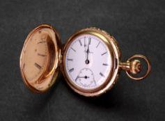 America, Philadelphia, USA; a gold plated hunter pocket watch,