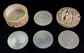 A small Canton ivory circular box, 19th century,
