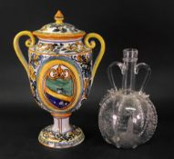 An Italian Maiolica two-handled vase and cover,