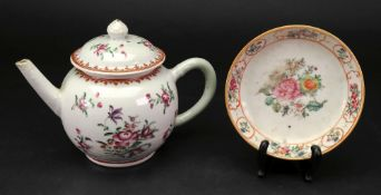 A Chinese famille rose bullet shaped teapot and cover, Qianlong,