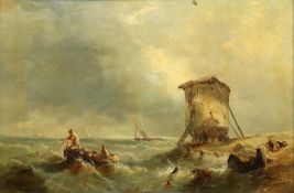 A Hunt (British, 19th Century) Hauling in the fishing nets,