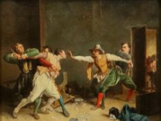 After Jean-Louis Ernest Meissonier, La Rixe (The Brawl), oil on canvas, 25.5 x 34cm.