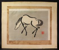 A pair of Japanese woodblock prints of horses, 20th century,