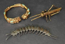 A Japanese bronze articulated centipede, 20th century, 15.