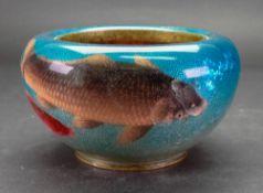 A Japanese ginbari enamel circular bowl, Meiji period,