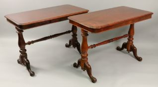 A pair of mahogany side tables, Victorian and later,