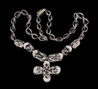 An 18ct white gold, white topaz and diamond set necklace, the clasp hallmarked, London, 54g gross.