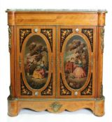 A reproduction Louis XVI style mahogany rosewood floral marquetry gilt metal mounted dwarf side