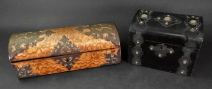 A Victorian pollard oak domed top glove box, with applied gilt metal strapwork mounts,