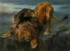John Trivett Nettleship (British, 1841-1902), A lion on a rocky ledge,