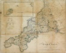 An engraved map of Cornwall by W W Rundell, published by W Wood, 34 x 42cm.