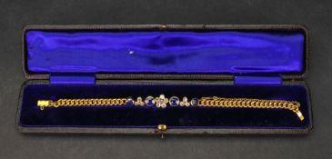 A gold, sapphire and diamond-set bracelet,