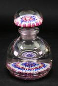 An English Millefiori inkwell and stopper, probably Walsh Walsh, 20th century, 17cm high.