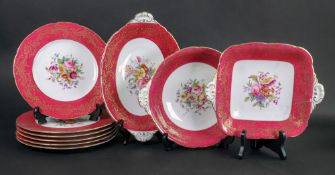 A Coalport nine piece dessert service, manufactured for Harrods Ltd, six plates and three dishes,