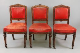 A set of ten late Victorian oak frame dining chairs, circa 1890,