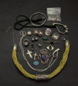 A collection of silver jewellery,
