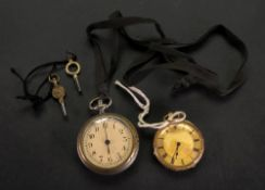 An 18ct gold key wind pocket watch, the engine turned dial with Roman numerals,