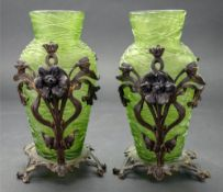 A pair of continental green glass vases, possibly Pallme-Konig, Austria, early 20th century,