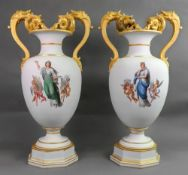 A pair of large and impressive Berlin biscuit porcelain vases, second half 19th century,