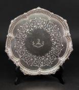 A Victorian shaped circular silver salver, Martin Hall & Co, Sheffield 1856,