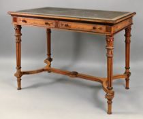 Gillow & Co; a late Victorian mahogany satinwood ebonised boxwood strung writing table,