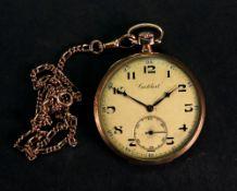 Cortibert; a 14ct gold cased open faced pocket watch,