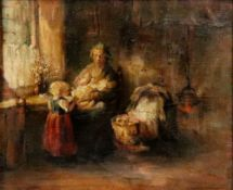 Follower of Bernard de Hoog, A mother with her children in an interior, oil on board, 24 x 29cm.