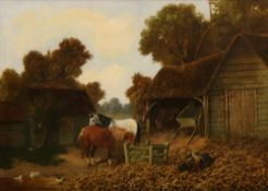 Follower of John Frederick Herring, Horses and pigs in a farmyard; and a companion, a pair,