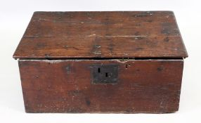 An 18th century oak bible box, with hinged top and interior compartment,