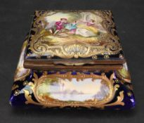A large Sevres style gilt metal mounted snuff box, late 19th century, of square form,