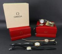 A collection of wristwatches, comprising: a 9ct gold cased manual wind wristwatch by Dennison,