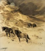 Lionel Edwards (British, 1878-1966), Ponies on a moor,