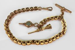 A 9ct gold fancy-link necklace, of alternating stylized and faceted belcher-link design,