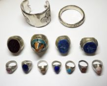 A group of mostly modern Afghan jewellery, comprising; two bangles,