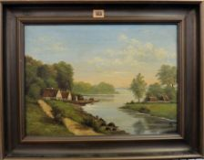 A** S** (19th/20th century), River landscape, oil on canvas, signed with monogram, 32.5cm x 45.5cm.