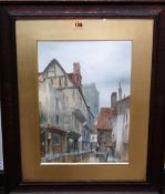 James Lawson Stewart (1841-1929), A glimpse of York Minster from the Shambles, watercolour,