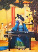 Oriental School, 20th Century, Geisha girl playing a sitar, oil on canvas, unframed, 101 x 76cm.
