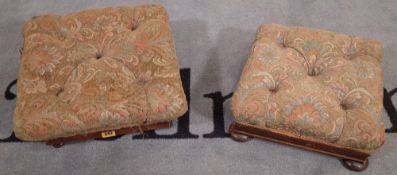 A Victorian rosewood framed rectangular footstool on bun feet and another similar mahogany framed