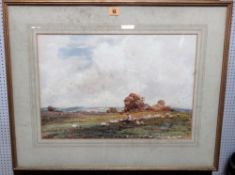 Claude Hayes (1852-1922), Sheep and shepherd in a landscape, watercolour, signed, 35cm x 50.5cm.